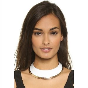 Tory Burch white dipped gold collar necklace